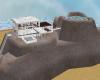 white marble island home