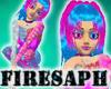 [F] neon pink blue hair