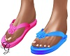 Pink & Blue Flip Flops