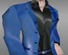Blue Leather Dress Coat