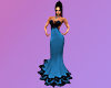 Teal & Black Lace Gown