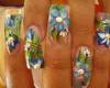 cute blue floral nails