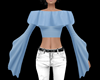 Blue Flared Sleeve Top