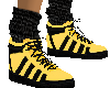 yellow black sock shoe