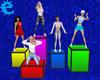 [E] Five Posing Cubes