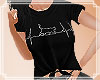 Cat Heartbeat Tee Blk