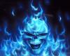blue flamed skull