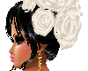 WHITE ROSES IN HAIR BLAC