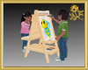 Twins & Art Easel