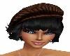 BROWN HAT/BLACK HAIR
