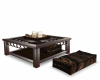 darkbown table with seat