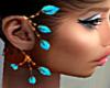 T- Leaves Earrings turq.