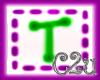 C2u letter T sticker