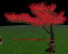 RED FALLING PETALS TREES