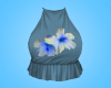 Blue Hibiscus Crop Top