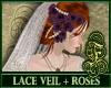 Lace Veil + Purple Roses