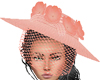 Coral Blush Veiled Hat
