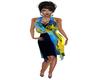 Blue Yellow Scarf Dress