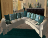 Teal/White Sofa