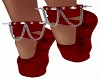 Spike Ballet Shoes-Red-F
