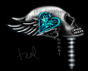 Skull Love sticker teal