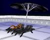 Parasol and hammocks