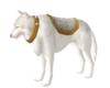 white wolf/gold saddle