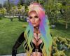 Blonde rainbow hair