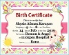 Shysie Birth Cert