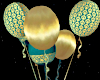 teal and gold balloons