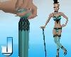 Burlesque Cane - Aqua