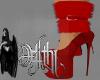 holiday fur heels red