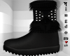 Black Fur Boots Bow