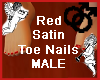 Red Satin Toe Nails MALE