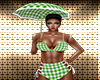 Green Gingham Umbrella