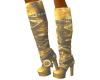 Gold Biker Boots