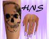 Skull tattoo pastel nail