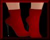 High Heel Booties Red