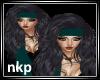 Teal/Blk Long head scarf