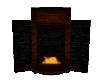 Brick and wood fireplace