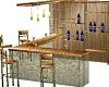 Green Glass & Wood Bar