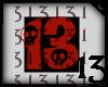 13 Skull Red Dark Blk BG