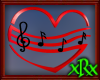 Music Note Heart Red