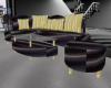 BLK N GOLD SATIN COUCH