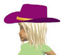 purple hat with blond ha