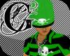 (90E) Green Skull Polo