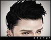 . black swept hair