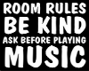ROOM RULES WALL SIGN