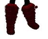 Dark Red Fuzzy Boots