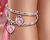 💕 Heart  Anklet Pink